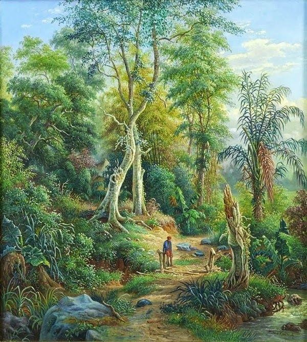 Van Den Kherkoff (1830-1908), 1891: Pemandangan sungai Brantas, Malang