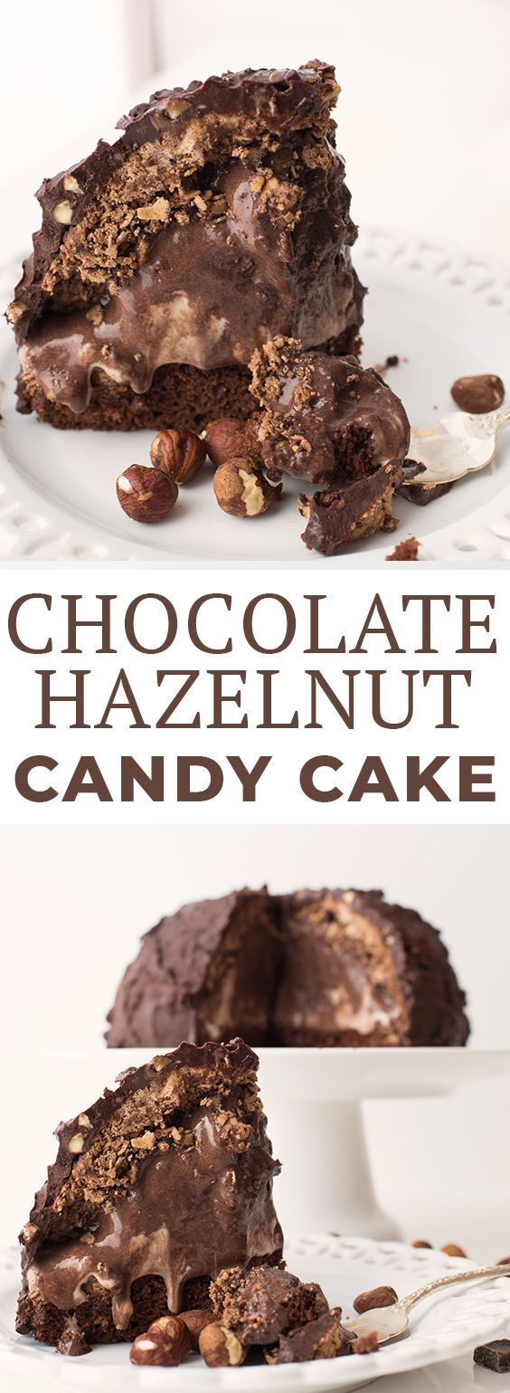 This Chocolate Hazelnut Candy Cake has a chocolate cake base, a center of chocolate and hazelnut gelato, and has a candy shell made from hazelnut-studded chocolate. #chocolatehazelnutcandy #chocolatecake #chocolatecandy #candycake #kidfriendly #chocolaterecipes #letseatcake #christmas #kroger #ralphs #privateselection #sponsored #kidfriendlyrecipes #bakingrecipes #cakerecipes #chocolatecakes
