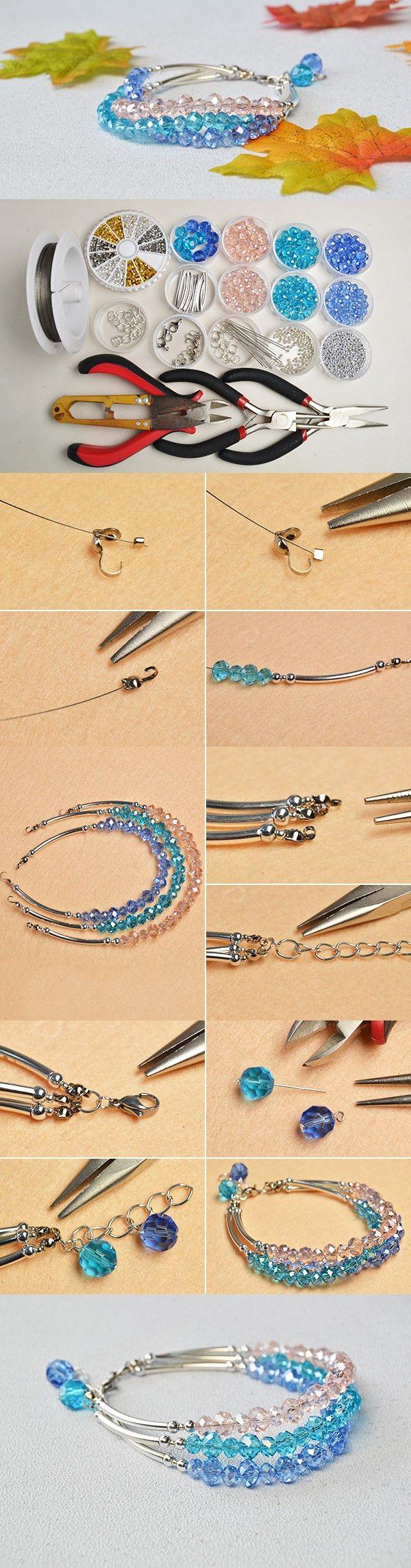 Making Easy Crystal Multi-strand Glass Beaded Bracelet