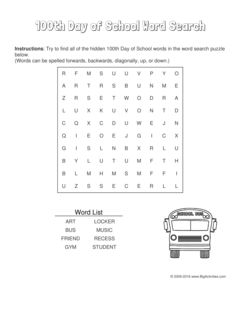 100th Day of School word search puzzle with a school bus. 4 levels of difficulty. Word search changes each time you visit
