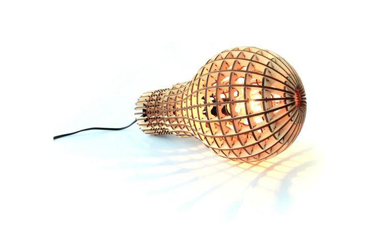 Wooden Light Bulb Lamp