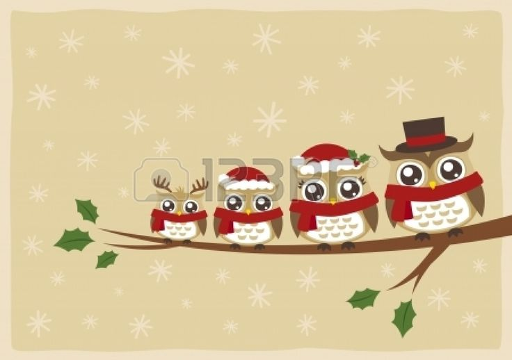 owl family christmas greeting