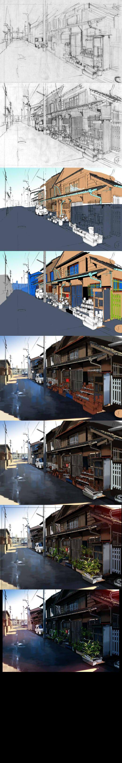 日本乡村场景绘制过程-FlyT漫画教程