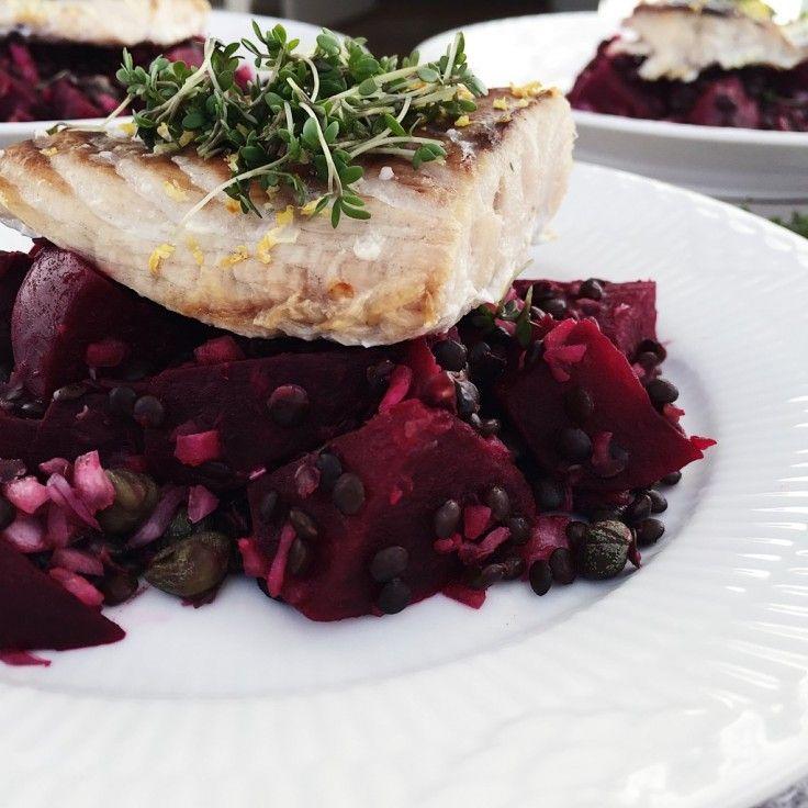 Bagt torsk er en smagfuld og kaloriefattig fisk, som vi elsker at spise. Denne opskrift på bagt torsk er med rødbedesalat og linser.