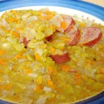 Slow Cooker Split Pea Sausage Soup: Peas Soups, Peas Sausages, Cooker Split, Sausage Soup, Crock Pots, Soups Recipes, Slow Cooker, Split Peas, Sausages Soups