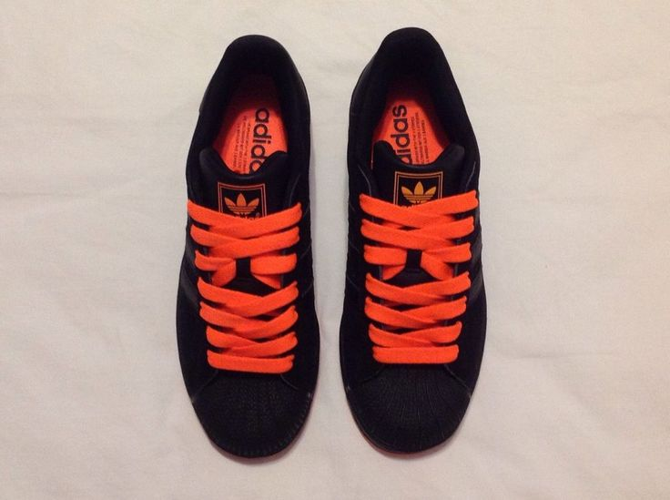 ADIDAS SUPERSTAR BLACK/NEON ORANGE SUEDE MENS SHOES SIZE 8 #adidas #Walking  http
