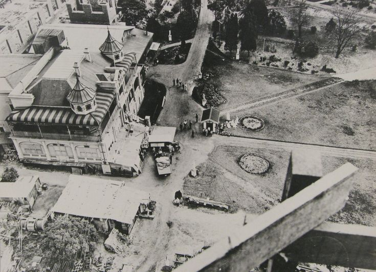 Abbotsford House, Abbotsford, NSW, at the time of construction of the Nestlé factory in 1918. Nestlé, then known as the Anglo-Swiss Condensed Milk Company, purchased Abbotsford House and its grounds in 1917 to build the 'largest chocolate factory in the Southern Hemisphere'. Abbotsford House was retained for use as offices, while the factory was constructed on three sides of the house.