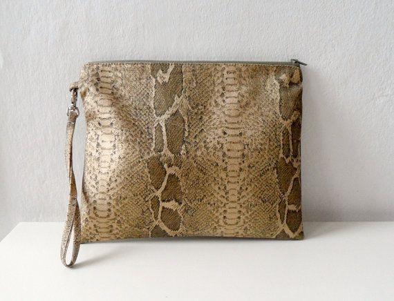 Gold Snake Skin Clutch  purse Zip Pouch wristlet by ShebboDesign, $36.00