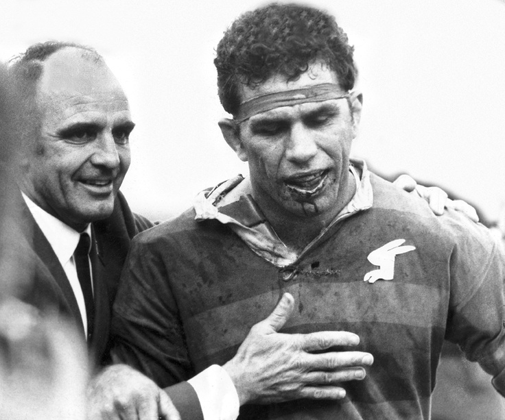 John Sattler after the 1970 NSWRL Grand Final. Sattler suffered three fractures to his jaw in the opening minutes but refused to leave the field. South Sydney won 23-12.
