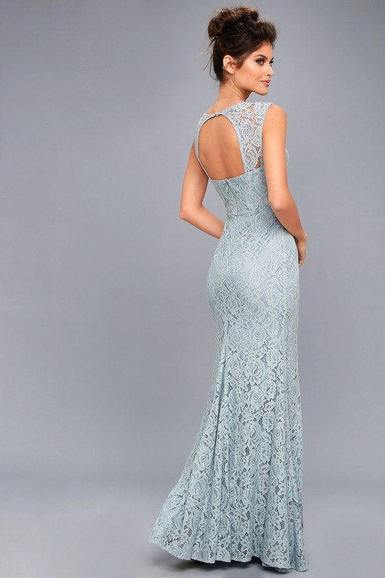Lulus Exclusive! Captivate the crowd in the Rosetta Slate Blue Lace Maxi Dress! Stunning floral lace shapes wide, sheer straps, above a darted, sweetheart bodice with princess seams. Fitted waist tops a romantic mermaid maxi skirt. Open back with button closure and hidden zipper/clasp.