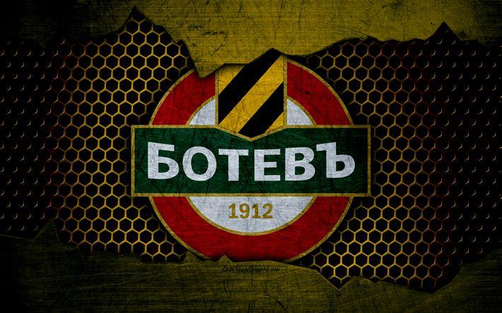 Download wallpapers Botev Plovdiv, 4k, logo, Parva Liga, soccer, football club, Bulgaria, Botev, grunge, metal texture, Botev Plovdiv FC