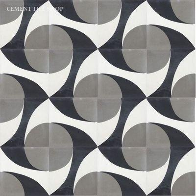 Dark grays / black tiles with more rustic but geometric pattern --Damisela