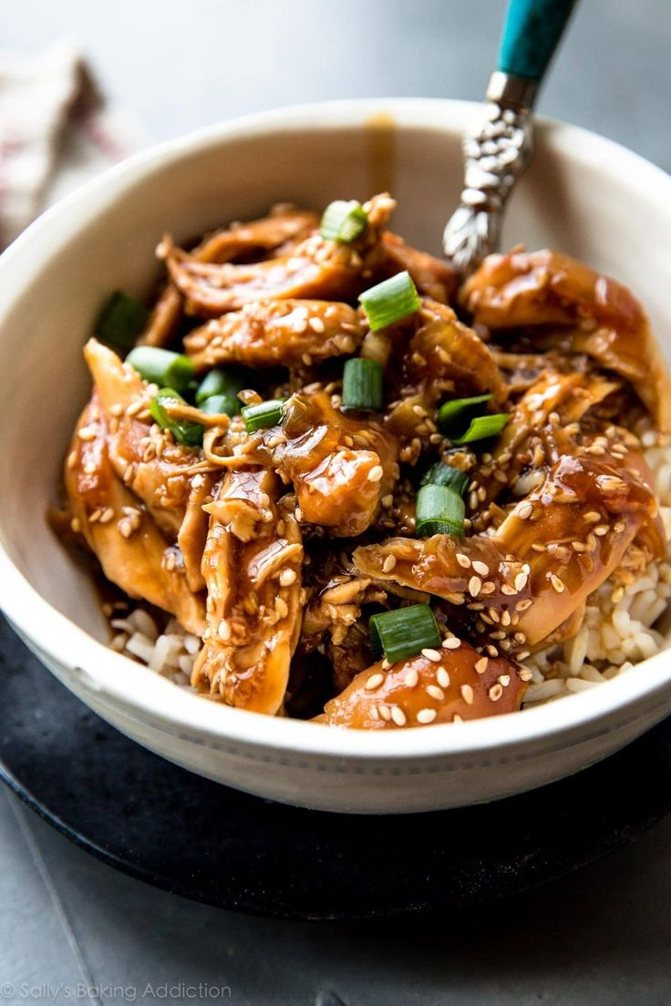 Place quick homemade teriyaki sauce and chicken into your slow cooker, set it and forget it! This delicious slow cooker honey teriyaki chicken is so easy.