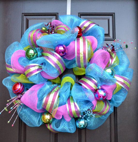 Whimsical Girly Christmas Wreath - Turquoise and Pink Christmas Wreath - Whimsical Christmas Wreath. $90.00, via Etsy.