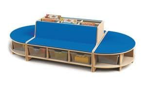 Isola Lettura, Isola lettura modulare per bambini, in legno di faggio, mobili per asilo