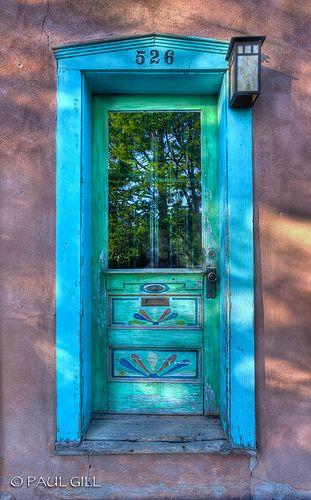 Santa Fe Door Reflection - New Mexico