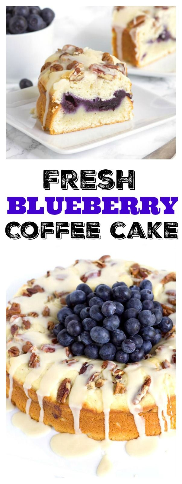 Beautiful, fresh Blueberry Coffee Cake recipe. Perfect for using up summer- fresh, sweet blueberries!