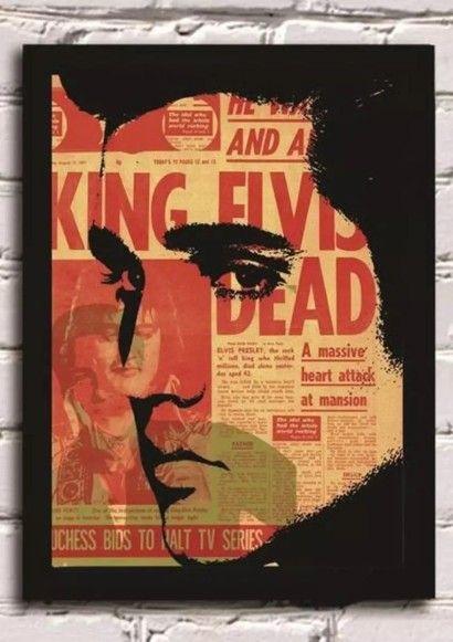 Elvis Presley King | R$ 59,90 | Quadro Com Moldura | Tamanho: 22 X 32 Cm | Imagem Em Alta Resolução HD | Acompanha Moldura Preta Com Vidro