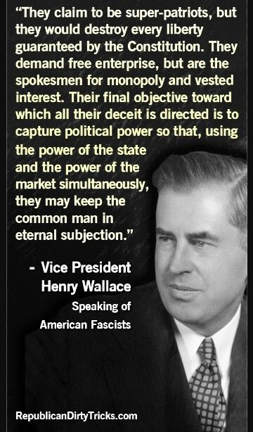 Henry Wallace's quote regarding corporate fascism. #AmericanDemocraticSocialism This should sound eerily familiar...why are we fighting the same evils today, because they count on ignorance, those who do not learn the lessons of history...are bound to repeat the same mistakes. Remember the lesson...these are today's evils.