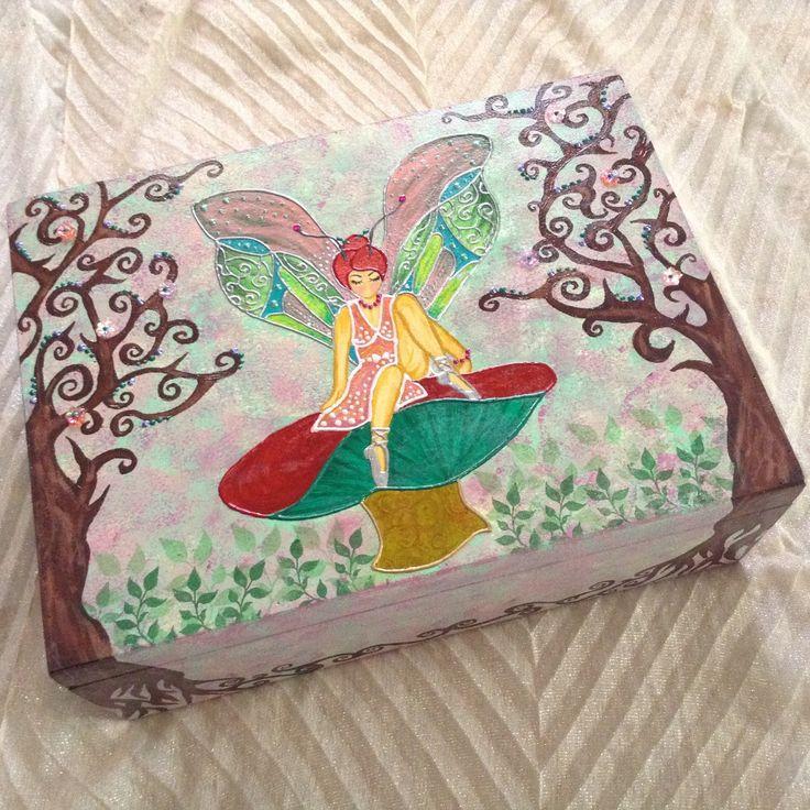 "Fairy painting keepsake large wooden trunk box, customizable name, decorative memory fairy box, ""Mushroom fairy"" by EthnicDrops on Etsy https://www.etsy.com/listing/278963260/fairy-painting-keepsake-large-wooden"