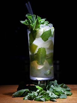 Angostura Mojito Ingredients: 2 parts Angostura 5 Year Old Rum 4 Lime wedges 12 mint leaves 1 part Sugar Syrup 1 part freshly squeezed lime juice Soda (Splash) Cracked or Crushed Ice