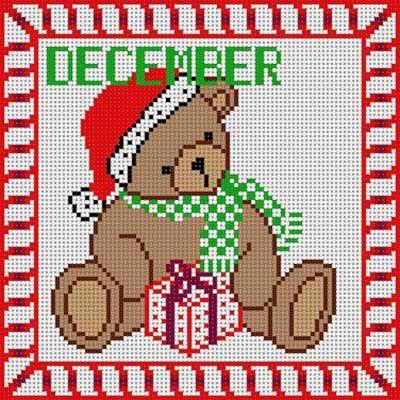 December teddy bear x-stitch