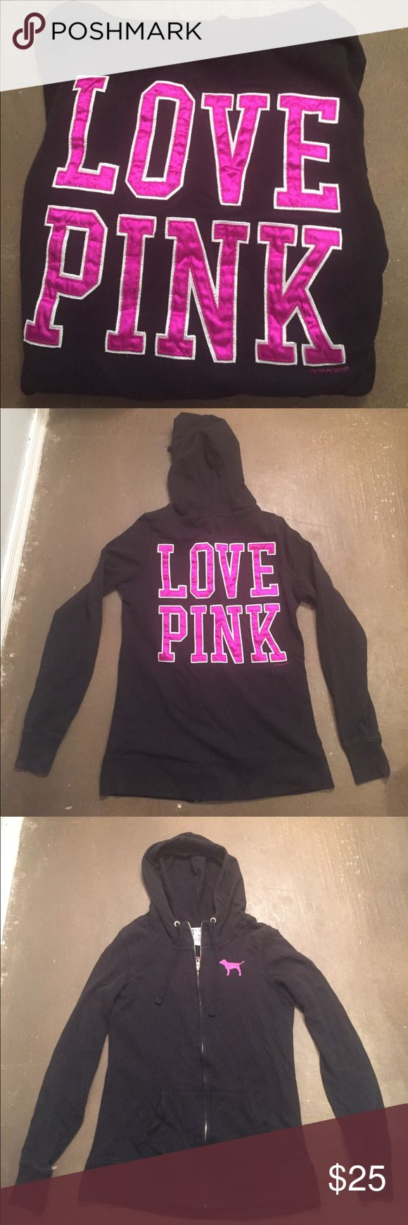 PINK VS Black ZIp Up Hoodie Women's XS. Black zip up hoodie with front pockets. Has Love Pink patch on back and in good condition Preowned and no holes. PINK Victoria's Secret Tops Sweatshirts & Hoodies