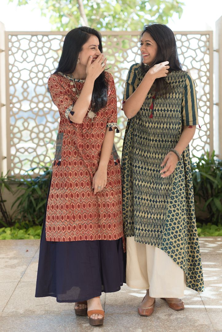 Cotton asymmetric kurta with palazzo pants