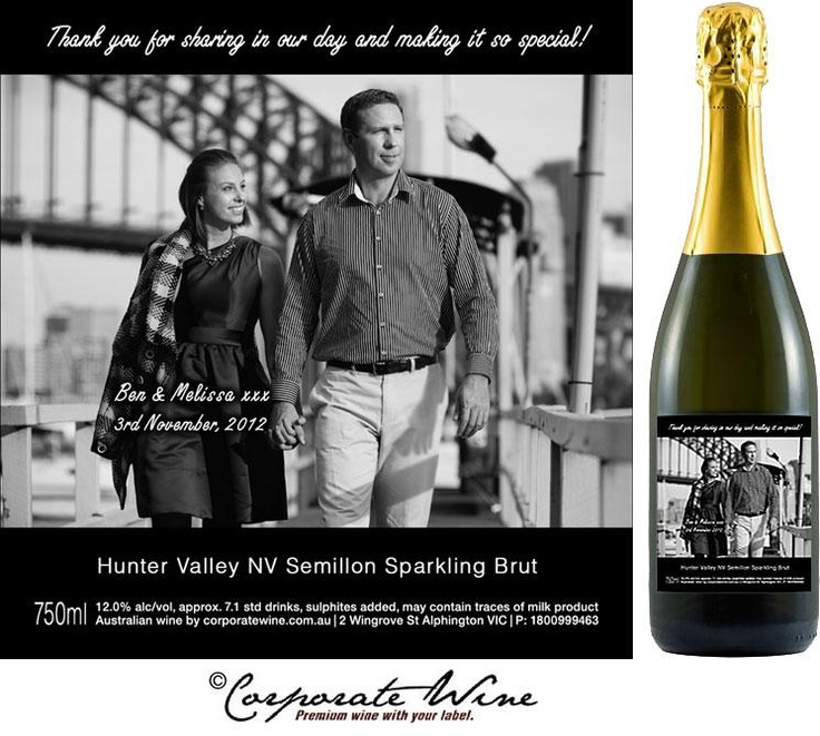 "Special ""Thank You "" bottles of  Gold Range Hunter Valley NV Semillon Sparkling Brut, with unique Custom Designed Labels."