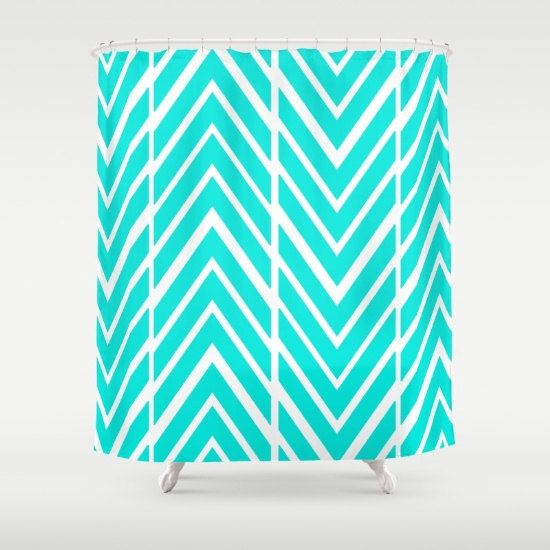 Bright Turquoise Shower Curtain   Bathroom by ShelleysCrochetOle