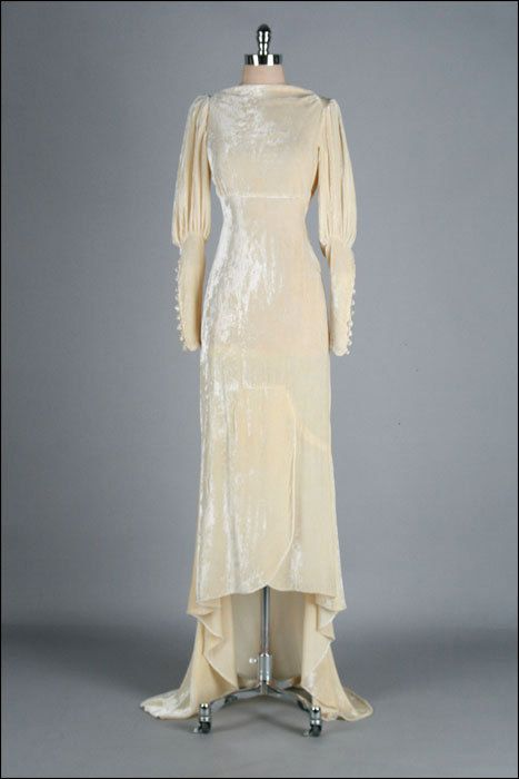 Vintage 1930s Wedding Dress . Ivory Silk Velvet . Champagne . Empire Waist . Bias Cut . XS/S . 2110. $1,150.00, via Etsy.