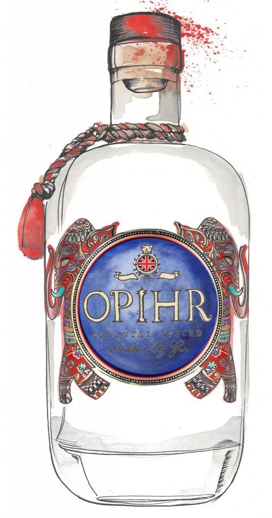 Opihr Gin Bottle Watercolour Illustration. Click the 'visit' link to commission your own choice of gin illustrations