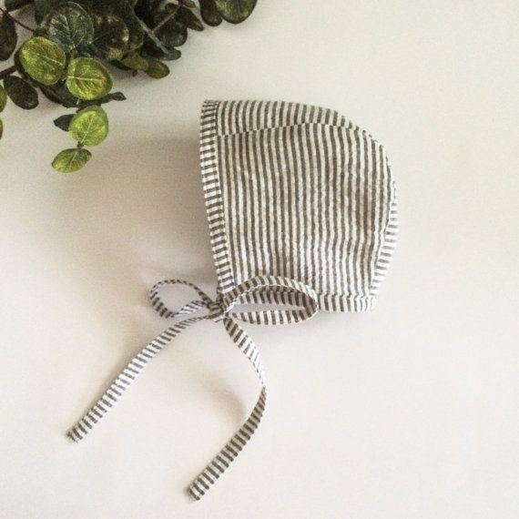 Cotton Baby Bonnet Charcoal and White by LittleSparrowTrends
