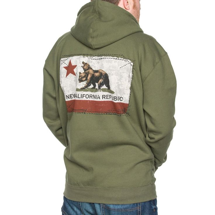 Men's army green full-zip hoodie with the New California Republic flag screenprinted on back with embroidered logo on left chest.  Mens full zip hoodie in army green made with premium heavyweight fabric 10 oz 80/20 cotton/poly blend fleece Fleece lined hood Split stitch double needle sewing on all seams Twill neck tape