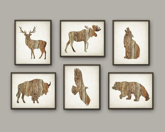 Rustic Cabin Wall Art Print Set Of 6 Deer By Quantumprints