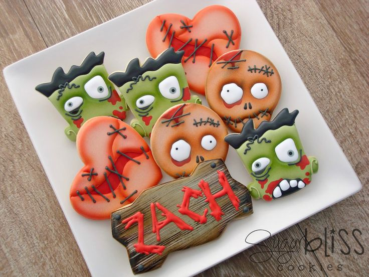 Zombies Custom 3 cookie favors designedespecially for Zach Happy 18th Birthday! Here is the...