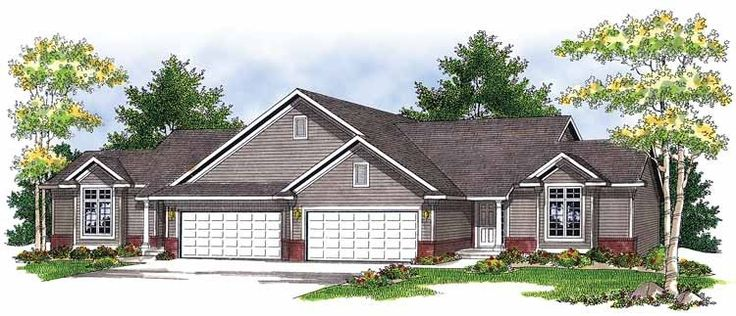 24 best images about multiple family house plans on for Ranch duplex plans