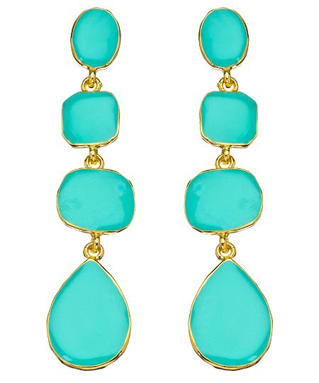 I can't get enough of turquoise earrings; $90.Kenneth Jay Lane, Turquois Dangle, Turquoise Dangle, Multi Shapped Turquoise, Turquoise Earrings, Jewelry, Dangle Earrings, Turquois Earrings, Gold Earrings