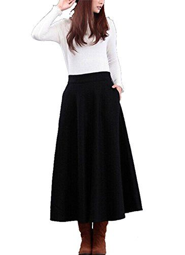 98b0d95bdb Spring Moon dresses Women's Black Winter Cashmere Wool Maxi Long Skirt,Aspicture,Waist-76.7cm/30.2inches  Best Halloween Costumes & Dresses USA