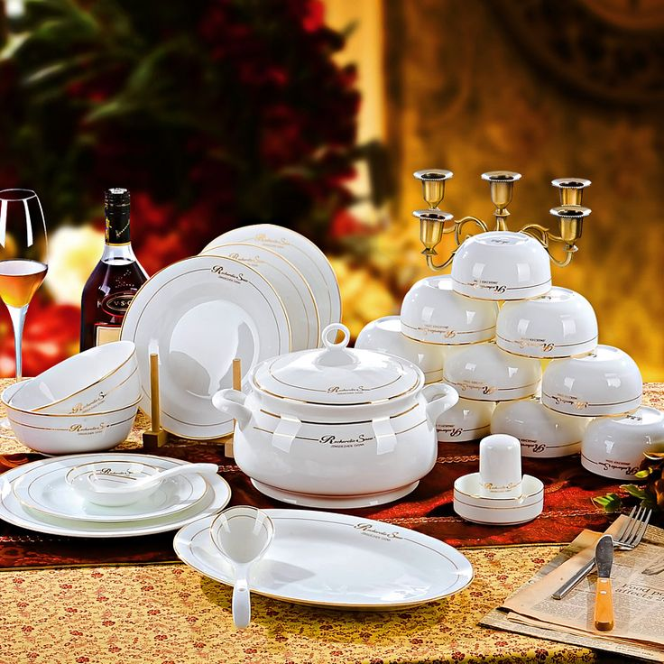 Tableware fashion 56  pieces bone chinaware bowl wedding gifts wankuai set