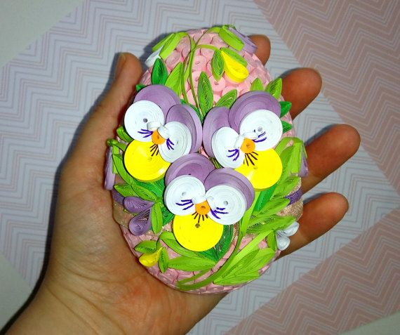 Quilled Easter egg with pansy flowers 3D Quilling by QuillingLife