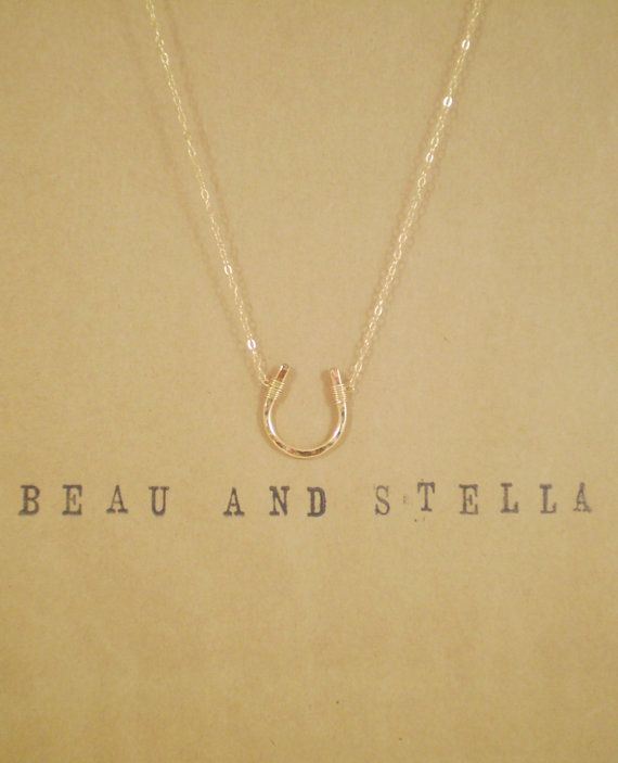Luck Necklace Hammered Horseshoe Necklace 14k by BeauAndStella