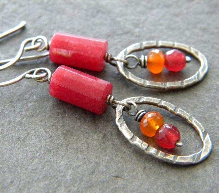 Ruby Jade Carnelian Sterling Silver Earrings Oxidized Oval Hoop Orange Raspberry. $37.00, via Etsy.