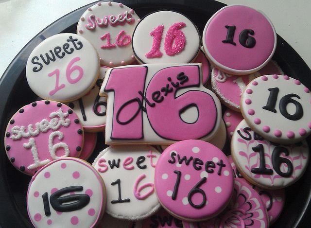 Sweet 16 Cookies by Custom Cookies by Jill, via Flickr