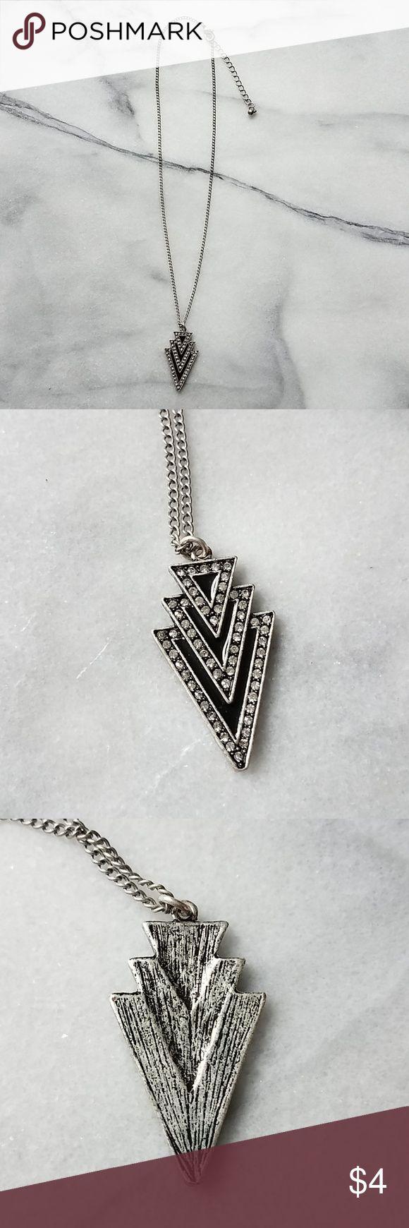 Geometric Black Silver Rhinestone Necklace Silver