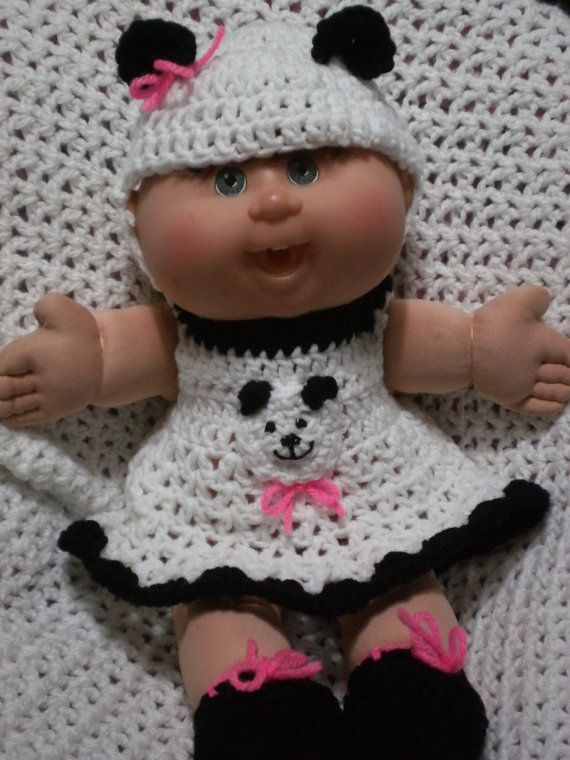Inspiration - panda outfit for Cabbage Patch doll - believe that elastic is used at neckline to make the dress easy to put on and take off