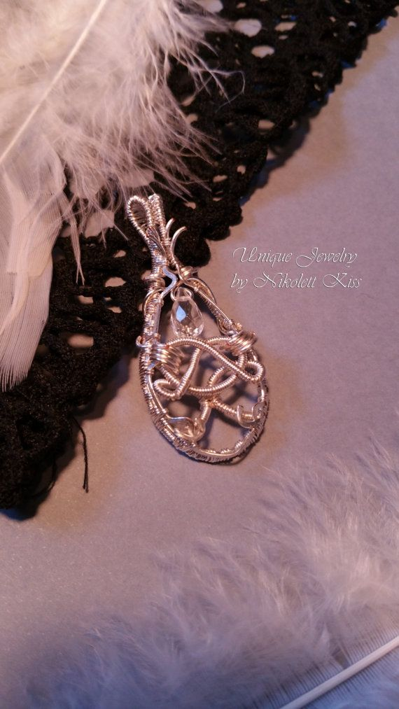 Handmade Unique Silver Plated Wire Pendant with Faceted Rock Crystal Drop