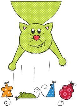 Catstory Doodles Wonderful Cats! They are quickly embroidered and by using different fabrics you can make them look different each time The designs look like sketches scribbled on a napkin. The fringed edges of the raw edge appliqué add to the sketched effect. The embroidery file consists of 12 single designs for the 10x10 (4