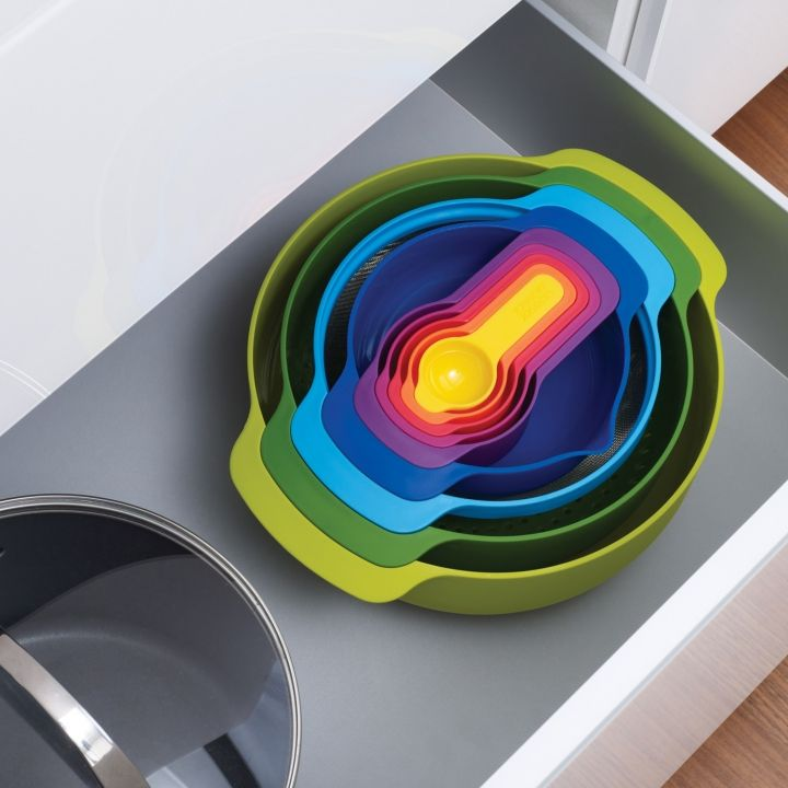 Nest™ 9 Plus - Space-Saving Food Preparation Set by Joseph Joseph. I've always admired Joseph and Joseph's work, it is so practical and so much fun - after all this is what design is meant to be :)