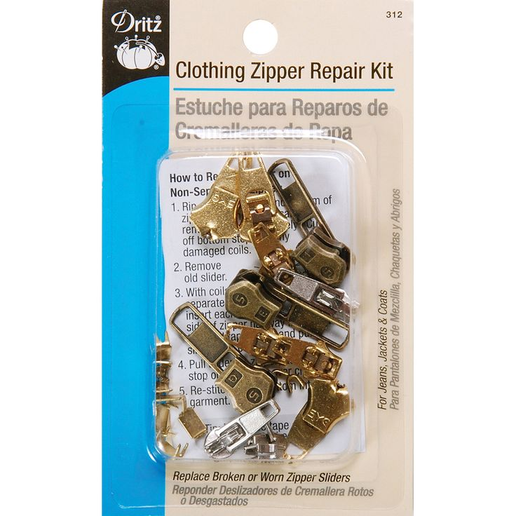 Clothing Zipper Repair Kit is a zipper repair kit that replaces broken or warn zipper sliders quickly and easily. This package contains three 2.5mm nylon coil sliders three 4.5mm metal tooth sliders t
